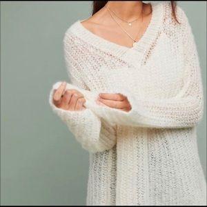 Anthropologie White Dasher V Neck Sweater Alpaca
